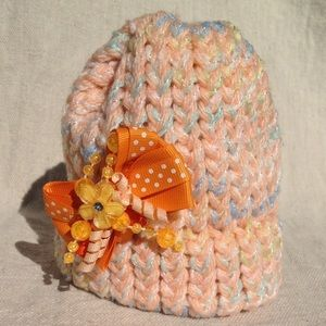 NEW Newborn Baby Knitted Hat w Removable Hair Clip